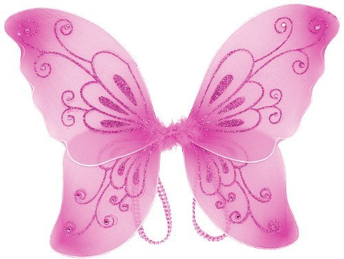 Girls Sparkling Fairy Wings (Pink, One Size)