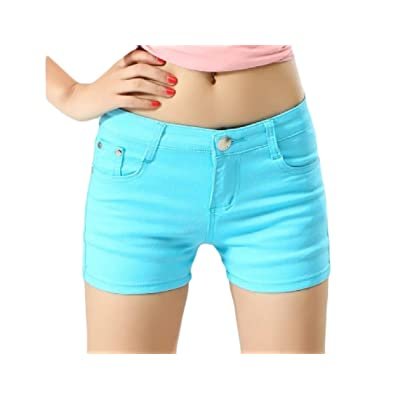 Abetteric Women Short Summer Shorts Skinny Summer Leisure Mulit Color Shorts Jeans Light Blue XL