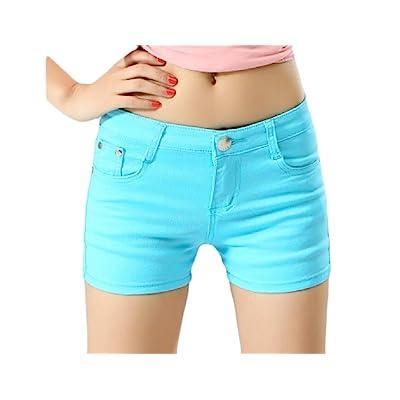 Abetteric Women Short Summer Shorts Skinny Summer Leisure Mulit Color Shorts Jeans Light Blue XL
