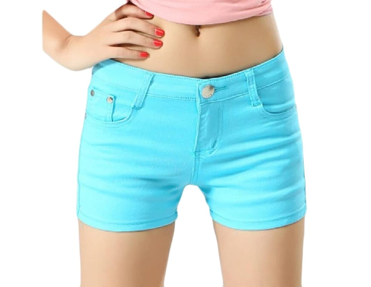 Abetteric Women Short Summer Shorts Skinny Summer Leisure Mulit Color Shorts Jeans Light Blue XXS