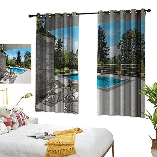 Warm Family Light Luxury high-end Curtains House Decor Collection House Swimming Pool View from The Veranda Summer Day Scenery Terrace Picture Darkening and Thermal Insulating 63