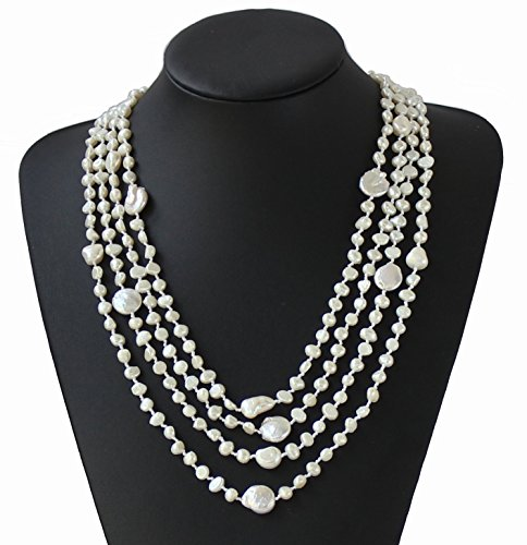 (Hand-woven 4-Strand Natural Baroque Freshwater Cultured Pearl Necklace Statement Wedding Woman Jewelry)