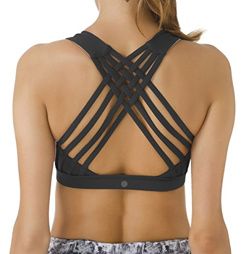 f64bb9632767c Queenie Ke Women s Medium Support Strappy Back Energy Sport Bra Cotton Feel  - Buy Online in UAE.