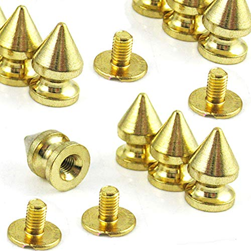 200pcs 7mmx 10mm Gold Color Clothes Rivet Cone Spikes Screwback Studs DIY Craft Cool Rivets Punk DIY Leather - Cone Gold Rivet