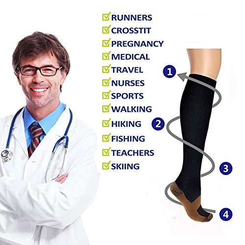 Copper Compression Socks (3 Pairs), 15-20 mmhg is BEST Athletic & Medical for Men & Women, Running, Flight, Travel, Nurses - Boost Performance, Blood Circulation & Recovery (Small/Medium, Black)