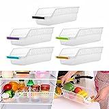 ღ Ninasill ღ Kitchen Refrigerator Space Saver Organizer Slide Shelf Rack Rack Holder Storage (Random)