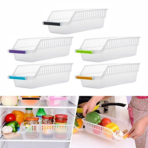 ღ Ninasill ღ Kitchen Refrigerator Space Saver Organizer Slide Shelf Rack Rack Holder Storage (Random)