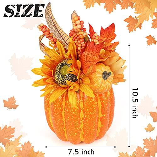 HAKACC Artificial Pumpkin, 13.5 Inches Fake Pumpkin Artificial Vegetable Faux Pumpkin Large Outdoor Pumpkin for Halloween Thanksgiving Day Decorations
