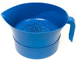 product image for Easy Greasy Hands Free Strainer Colander with lid Blue