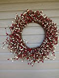 KMI New Homestead Rustic 19'' Country Primitive RED/WHITE Pip Rice Mixed Berry WREATH