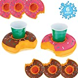 U.S. Pool Supply Drink Holder Set Inflatable Donut (6 Pack) -3 Strawberry and 3 Chocolate Frosted-Float Beverage Cans