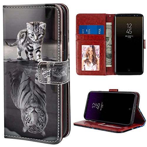 (YaoLang Samsung Galaxy Note 8 Wallet Case, Cat Tiger Reflection PU Leather Standable Wallet Phone Case with Card Holder Magnetic Hold for Samsung Galaxy Note)