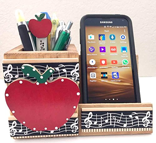 Wooden Cell Phone Stand/MEMO - Pen Holder, AA-R92 MU - w/Red Apple & Music Design Made in USA. Teacher Appreciation Gift. Accessories are not Included Unless ()