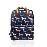 SALE Sausage Dog 'Cath Kidston' Designer Style Matte Canvas Backpack - Splashproof JC 'Back to School' Collection