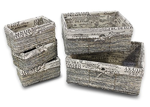 Stone Gray Wicker Decorative Organizing Baskets - 3 Small, 1 Medium, 1 Large Text Design - 5 Piece Set