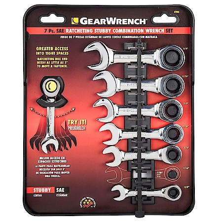 Gearwrench 7 Piece SAE Stubby Combination Ratcheting Wrench Set 3/8