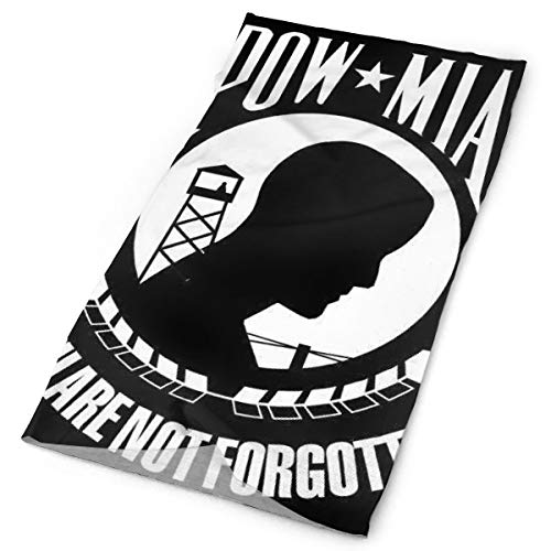 YongColer Head Scarf, Neck Gaiter, Helmet Liner, Pirate Hairband for Fishing Yoga Motorcycling Football, Multipurpose/Moisuture-Wicking Headwear (POW MIA Flag Black and White)