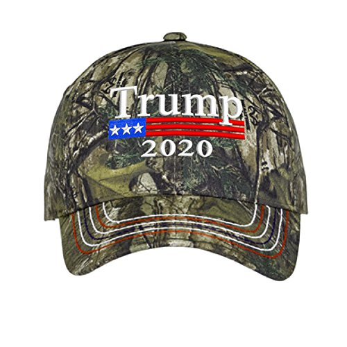 2020 Donald Trump Green Camo Hat Re-Election Keep America Great Embroidery USA Flag