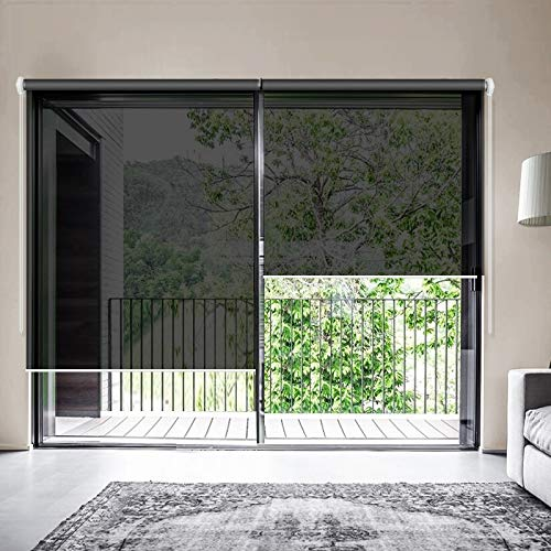 ZY Blinds Solar Window Shades, Upgrade Light Filtering UV Protection Flame Retardant Water Proof Cord Loop Window Roller Shades, 62