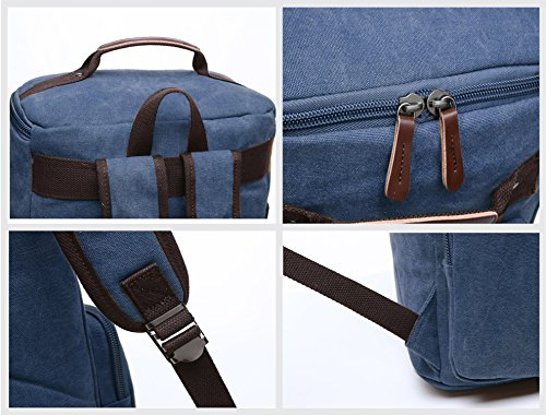 Canvas Backpack, Aidonger Vintage Canvas School Backpack Hiking Travel Rucksack Fits 15'' Laptop (Dark Blue) by Aidonger (Image #5)