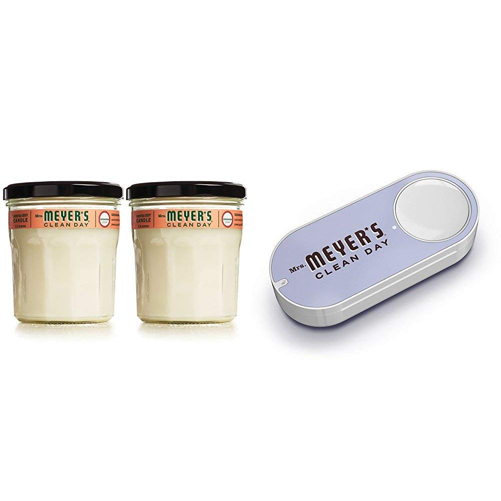 Mrs. Meyer's Clean Day Scented Soy Candle, Large Glass, Geranium, 7.2 oz (2 Pack) + Mrs. Meyers Dash Button
