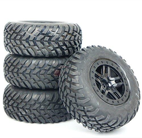 Junsi 4 Pcs Rubber Tyre Reifens Tires Wheel Rim Felge Felge Felge M0189 for 1/10 RC Short Course Traxxas Slash 7c1f09