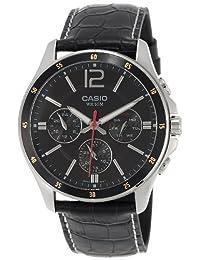 Casio #MTP1374L-1AV Men's Standard Leather Band Multi-Function Black Dial Watch