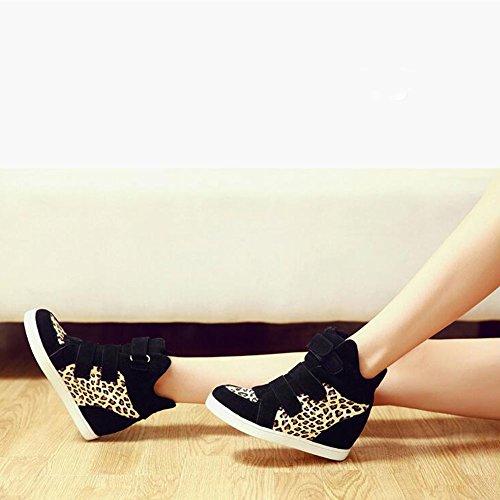Pp Mode Kvinna Leopard Kilar Gömda Häl Gymnastikskor Mode Platåskor Gul