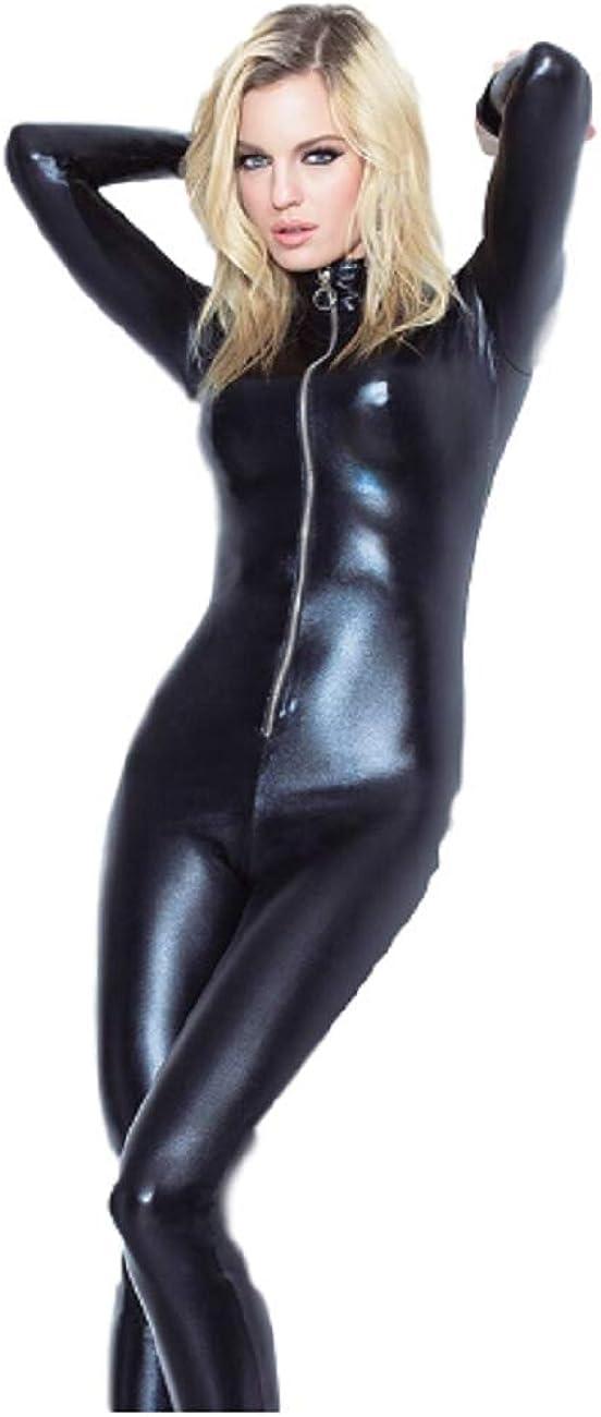 GGTBOUTIQUE Top Totty Fresh Fashion Front Zipper Vinyl Jumpsuit-Tuta Unica Donna