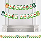 Big Dot of Happiness Personalized Jungle Party Animals - Custom Safari Zoo Animal Baby Shower Bunting Banner & Decorations - Welcome Baby Custom Name Banner
