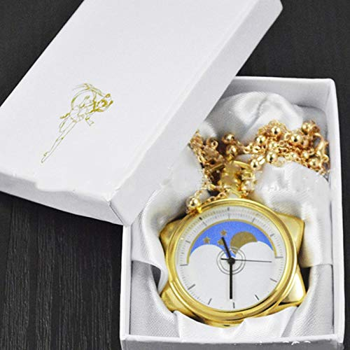 Maslin [Tool 2017 Japanese Anime Cartoon Sailor Moon The New Moon Anime Golden Suit Quartz Pocket Watch supe #0133 - (Color: Without Box)]()