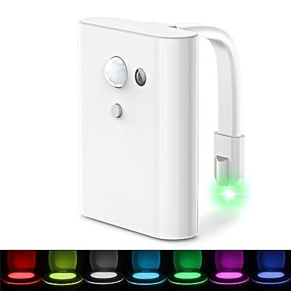 lifebee inodoro luz nocturna, sensor de movimiento LED inodoro luz 3 x AAA con pilas