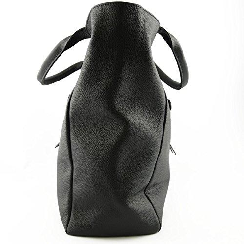 Shopper Aus Echtem Leder Für Damen Mit Verstärkten Handgriffen Farbe Schwarz - Italienische Lederwaren - Damentasche