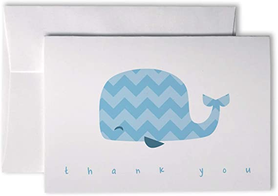 Whale Letterpress Greeting Cards Navy Blue