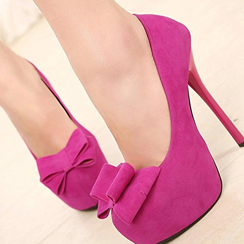 Chfso Mujeres Sexy Stiletto Bow Sólido Suede Low Top Slip On Bombas De Tacón Alto Zapatos Rose Red