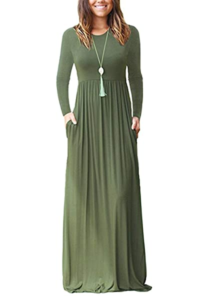 reliable quality utterly stylish huge sale Green Ink Women's Long Sleeve Loose Plain Maxi Dresses Casual Long Dresses  with Pockets