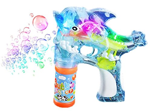 Playo Dolphin Light Up Toy Gun Bubble Blaster - For Kids, Boys, Girls, Playing, Outdoors, Indoors, Fun Activities & Party Favors Bubble Machine