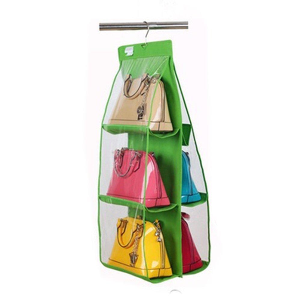 Kleiderschrank Veranstalter 6/Taschen Closet Einh/ängen Ablagen klar Spielzeug Schuhe Kleidung Handtasche ordentliche Aufbewahrung Cluth Clutch Portemonnaie Halter