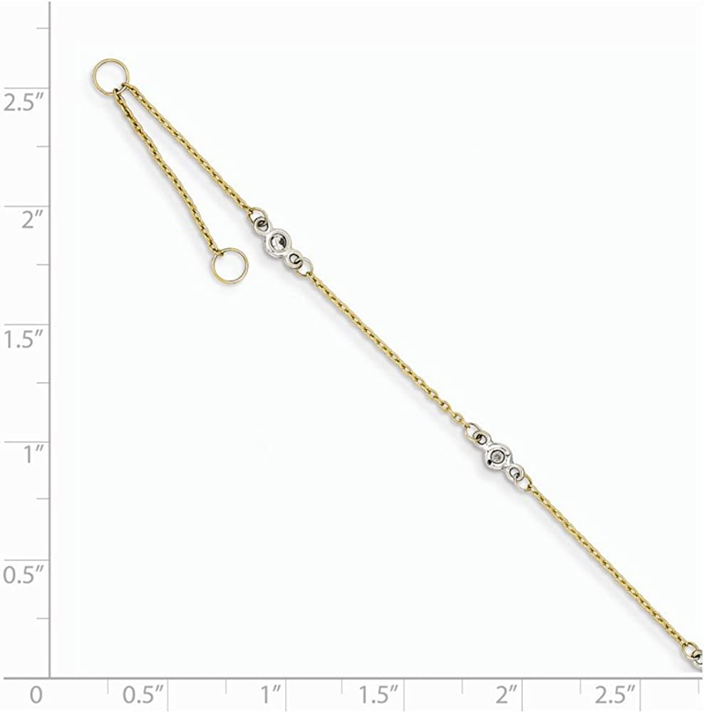 Anklet Adjustable 1 mm 9 in Anklets with Stations Anklets Jewelry 14K White Gold /& Yellow Gold CZ 1in ext