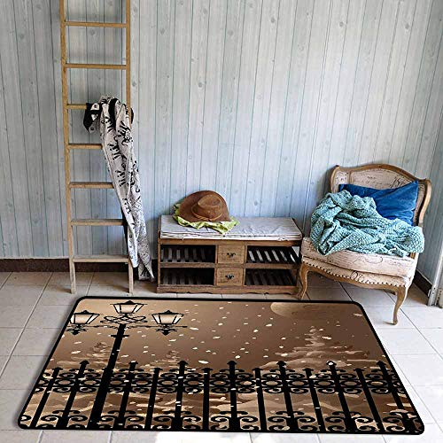 Room Bedroom Floor Rug Lantern Frozen Scenery Iron Fences City Evening Snow and Lanterns Full Moon Graphic Personality W47 xL59 Light Brown Black