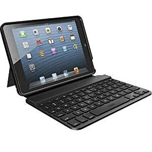 zagg keyboard folio case zaggkeys mini 7 for ipad mini bluetooth fosbslblk10. Black Bedroom Furniture Sets. Home Design Ideas