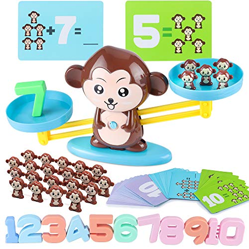 CENOVE STEM Toys for 3+ Years Old Monkey Balance Math Game Educational Toys for Kids Montessori Toy for Girls & Boys Childrens Gift Learning Toys Number(65-Piece Set)