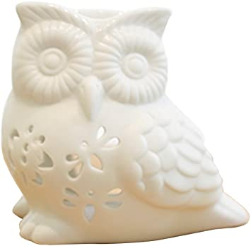 ToiM Milk White Ceramic Hollowing Floral Aroma Lamp Candle Warmers Fragrance Warmer Oil Diffuser Essential Oil Lamp Aromatherapy Furnace Ceramic Incense Burner Wax Melt Warmer Owl Shaped
