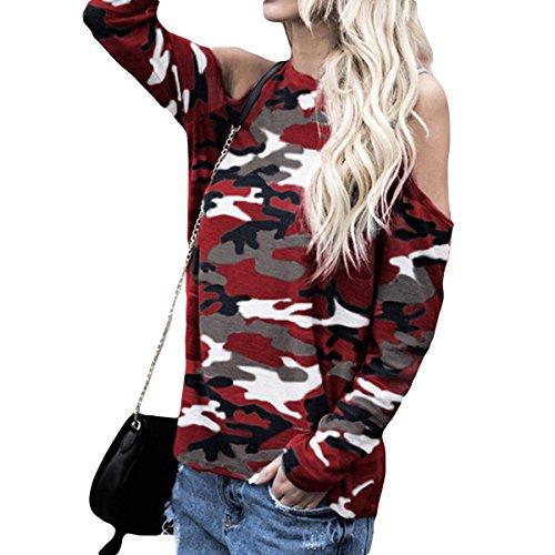 l'automne froide longue Chemise Femmes QHDZ shirts longues paule T causale T manches femme Red Camouflage graphique shirt Blouse SwdSqpg4