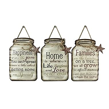 Young's Tin Mason Jar Wall Sign Assorted, 15.5 , Set of 3