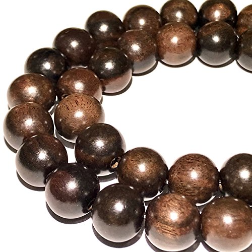 12mm Round Cut Gem - [ABCgems] Natural Tiger Kamagong Hard Wood AKA Ebony (Prime Cut from Center of Wood) 12-13mm Round Beads