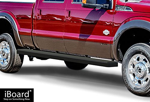 APS Wheel-to-Wheel (W2W) iBoard Running Boards (Nerf Bars | Side Steps | Step Bars) For 1999-2016 Ford F250/F350 Super Duty Crew Cab Pickup 5.5ft Short Bed | (Black Powder Coated 6 inches WTW) ()