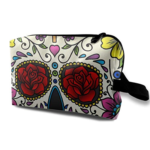 Halloween Pink Mexican Sugar Skull Multi-function Travel Makeup Toiletry Coin Bag -