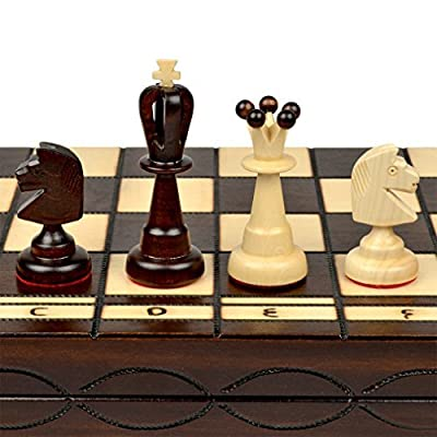 """Large European Wooden Chess and Checkers Set - 19.7"""""""