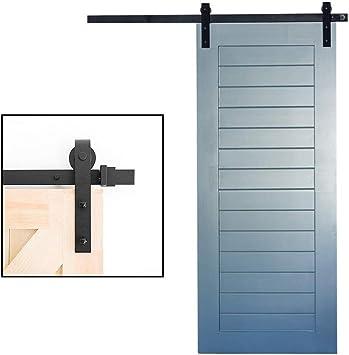 Deslizante juego de herrajes de puerta de granero, correderas armario individual Kit, Bypass puerta corrediza de la pista kit, acero al carbono, Silent Polea, ajuste simple/doble puerta: Amazon.es: Bricolaje y herramientas